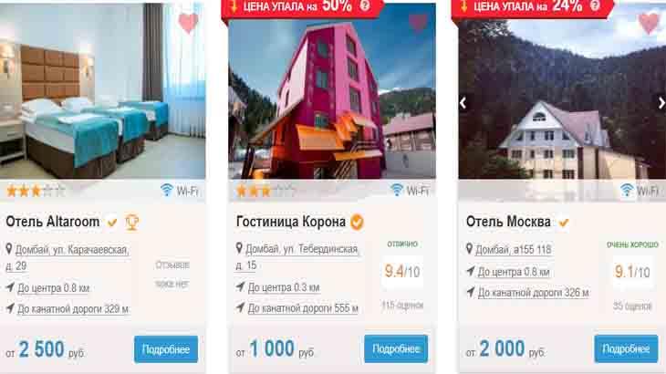 Цены на проживание в гостиницах