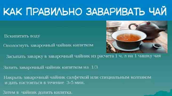 Памятка, как заваривать чай