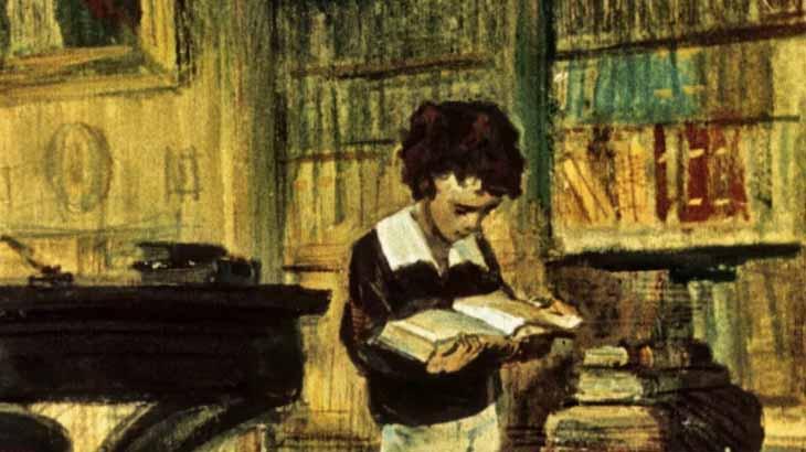 Юный Пушкин читает книгу