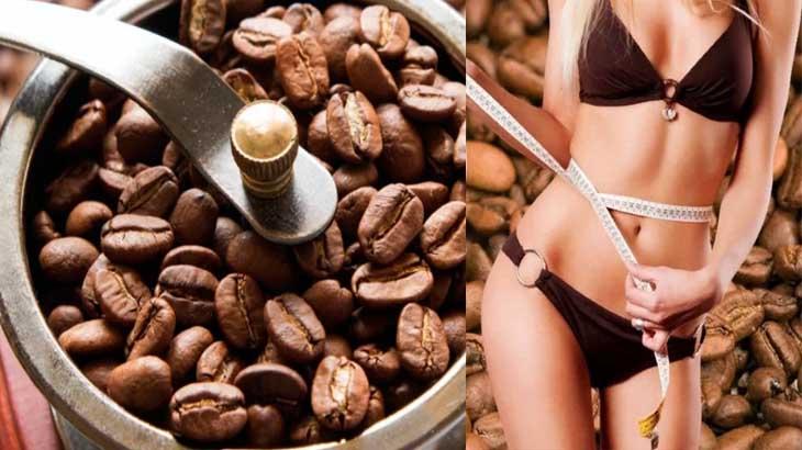 Стройная девушка и кофейные зерна